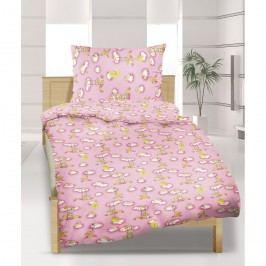 Detské bavlnené obliečky do postieľky Macko ružová, 90 x 135 cm, 45 x 60 cm