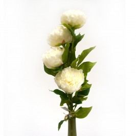 Umelá kvetina pivonka, biela, darčekové balenie, 4 ks, Livo