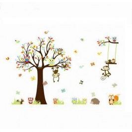 Samolepka na stenu Samolepka rozprávkový strom sovičky, opice