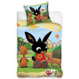 Carbotex Detské  bavlnené obliečky Zajačik Bing Psí kamarát, 140 x 200 cm, 70 x 90 cm