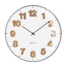 LAVVU LCT4030 - Biele hodiny s drevenými číslami Harmony