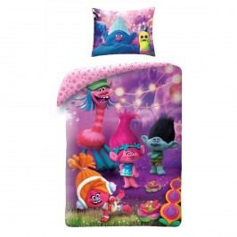 Halantex Detské bavlnené obliečky Trolls fialová, 140 x 200, 70 x 90 cm