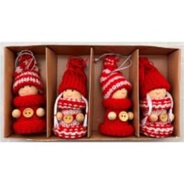 Vianočná dekorácia Pletené bábiky 4 ks, červená
