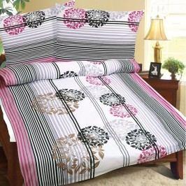 Obliečky bavlna Vínovo-sivé kvety , 240 x 200 cm, 2 ks 70 x 90 cm