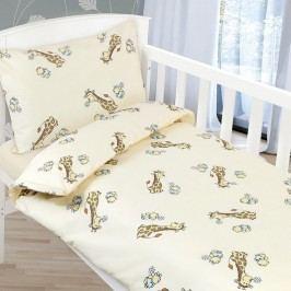 Obliečky detské AGÁTA Béžová žirafa, 90 x 135 cm, 45 x 60 cm
