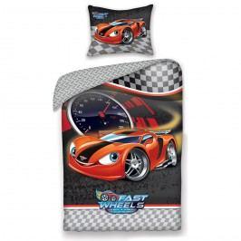 Halantex Detské bavlnené obliečky Fast Wheel Club auto, 140 x 200, 70 x 90 cm