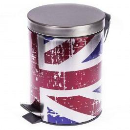 Pedálový odpadkový kôš s vlajkou Veľkej Británie, objem 5 l, pr. 20,5 cm, v. 27,5 cm