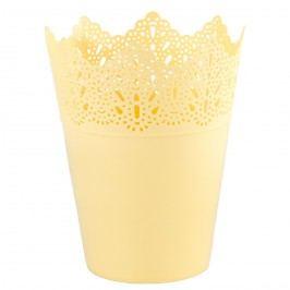 Plastový obal na kvetináč Čipka 15 cm, žltá