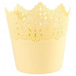 Plastový obal na kvetináč Čipka 11,5 cm, žltá