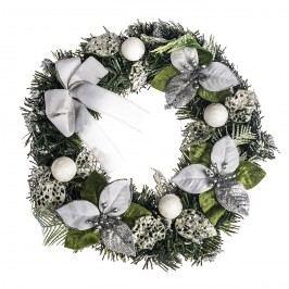 HTH Ozdobený vianočný veniec pr. 30 cm strieborná