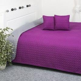 Prehoz na posteľ Doubleface fialová/sivá, 220 x 240 cm, 40 x 40 cm
