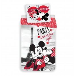 Detské bavlnené obliečky Mickey and Minnie I love you Paris, 140 x 200 cm, 70 x 90 cm