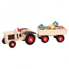 Traktor s gumovými kolesami a vlečkou