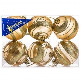 HTH Vianočné gule s pruhmi 6 ks zlatá pr. 6 cm