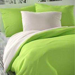 Kvalitex Saténové obliečky Luxury Collection biela/svetlozelená, 240 x 200 cm, 2 ks 70 x 90 cm