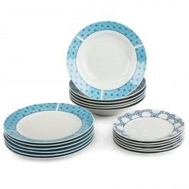 18-dielna sada tanierov Klaudia, porcelán, modrá