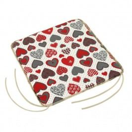 Sedák Adela hladký Srdce červená a sivá, 40 x 40 cm