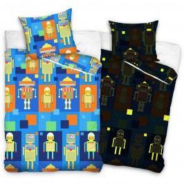 Detské bavlnené svietiace obliečky Roboti, 140 x 200 cm, 70 x 80 cm