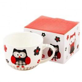Porcelánový hrnček Čierna sova v darčekovej krabičke 500 ml