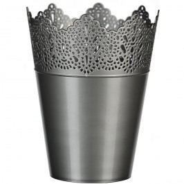 Plastový obal na kvetináč Čipka 15 cm, strieborná