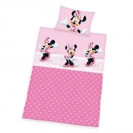 Detské bavlnené obliečky Minnie pink dots, 100 x 135 cm, 40 x 60 cm