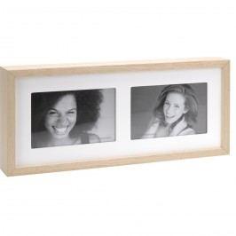 Fotorámček Wood na 2 fotografie, biela + béžová