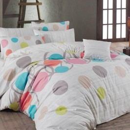 Night in Colours Bavlnené obliečky Bodky ružová, 220 x 200, 2ks 70 x 90 cm, 220 x 200 cm, 2 ks 70 x 90 cm