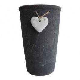Kvetináč so srdiečkom čierna 18 cm