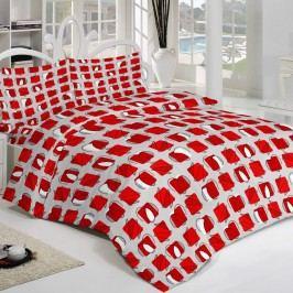 Kvalitex Krepové obliečky Squares červená, 240 x 220 cm, 2 ks 70 x 90 cm