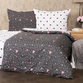 4Home Bavlnené obliečky Srdiečka, 160 x 200 cm, 70 x 80 cm