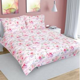 Bellatex Bavlnené obliečky Kvet s pruhom ružová, 240 x 220 cm, 2 ks 70 x 90 cm