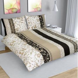 Bellatex Bavlnené obliečky Lístky béžová, 240 x 200 cm, 2 ks 70 x 90 cm