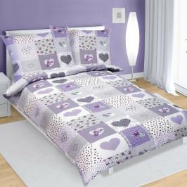 Bellatex Bavlnené obliečky Srdce fialová, 140 x 220 cm, 70 x 90 cm