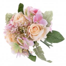 Umelá kytica ruží a hortenzií Silvia, 28 cm
