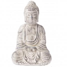 Betónová soška Budhu, 13 x 20 cm, sv. sivá