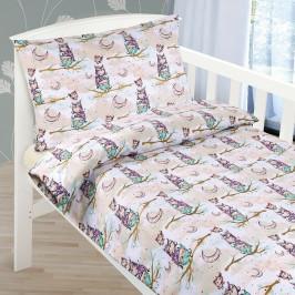 Bellatex Detské bavlnené obliečky do postieľky Sovička,  90 x 135 cm, 45 x 60 cm