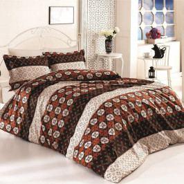 Kvalitex Bavlnené obliečky Delux Circles hnedá, 240 x 200 cm, 2 ks 70 x 90 cm