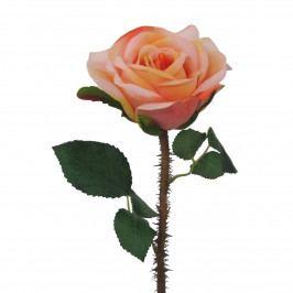 Umelá rozkvitnutá ruža s tŕňmi oranžovo-ružová, 38 cm