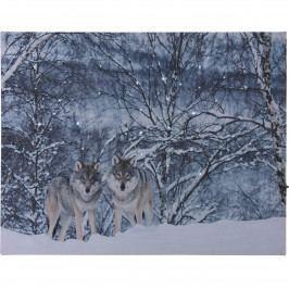 LED Obraz na plátne Wolves in winter, 40 x 30 cm