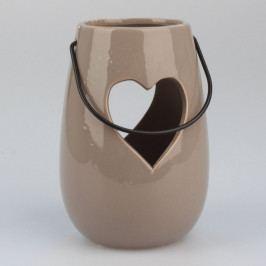 Dakls Závesný keramický svietnik Srdce hnedá, 14,5 cm