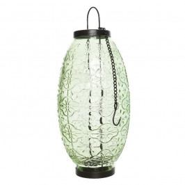 Sklenený lampáš Ornaments zelená, 23,5 cm