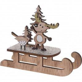Vianočná drevená dekorácia Sleigh with Bird, 14 cm