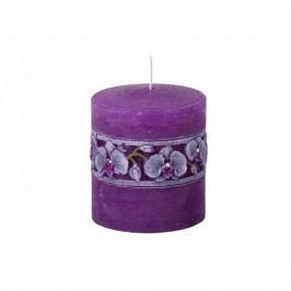 Vyrezávaná sviečka Fialová orchidej, valec