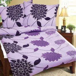 Bellatex Krepové obliečky Fialový kvet, 140 x 220 cm, 70 x 90 cm