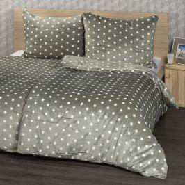 4Home obliečky mikroflanel Stars sivá, 160 x 200 cm, 2 ks 70 x 80 cm