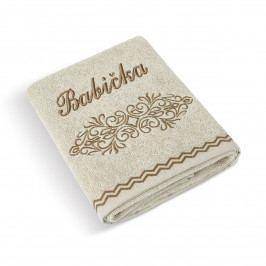 Bellatex Froté uterák 50x100 béžový rad 169/015 s výšivkou Babička