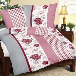 Bellatex Bavlnené obliečky Ruža s kockou, 240 x 200 cm, 2 ks 70 x 90 cm