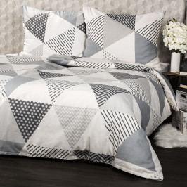 Jahu Bavlnené obliečky Triangel sivá, 140 x 200 cm, 70 x 90 cm