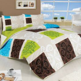Bedtex Bavlnené obliečky Sedef zelená, 220 x 200 cm, 2 ks 70 x 90 cm