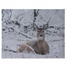 LED Obraz na plátne Deer in winter, 40 x 30 cm